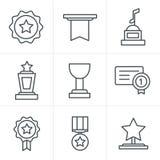 Ligne icônes de médailles de style d'icônes Image libre de droits