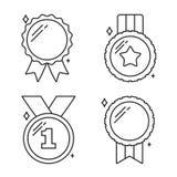 Ligne icônes de médailles Photos stock