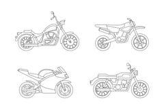 Ligne icônes de moto réglées Image libre de droits