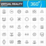 Ligne icônes de réalité virtuelle réglées Technologies d'innovation, verres de l'AR, affichage Tête-monté, dispositif de jeu de V Photo libre de droits