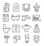 Ligne icônes de salle de bains Images stock