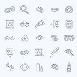 Ligne icônes de santé de yeux de correction de vision d'optométrie d'oculiste réglées Image libre de droits