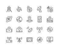 Ligne icônes de satellite Photographie stock libre de droits