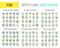 Ligne icônes de tache de Web illustration stock