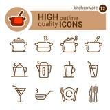 Ligne icônes de vaisselle de cuisine Images libres de droits