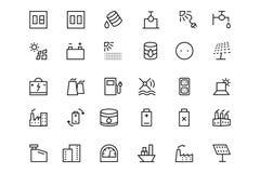 Ligne icônes 4 de vecteur d'énergie Photographie stock libre de droits