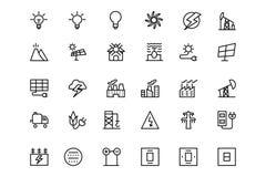 Ligne icônes 3 de vecteur d'énergie Images libres de droits