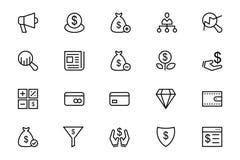 Ligne icônes 7 de vecteur d'affaires et de finances Image libre de droits