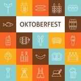 Ligne icônes de vecteur d'Art Modern Oktoberfest Beer Holiday réglées Photos libres de droits
