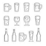 Ligne icônes de vecteur de bière illustration libre de droits