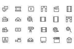 Ligne icônes 4 de vecteur de cinéma Photographie stock