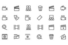 Ligne icônes 1 de vecteur de cinéma Photographie stock libre de droits
