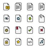 Ligne icônes de vecteur de gestion de flux des documents Photos libres de droits