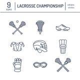 Ligne icônes de vecteur de jeu de sport de lacrosse Boule, bâton, casque, gants, lunettes de filles Signes linéaires réglés, cham Images stock