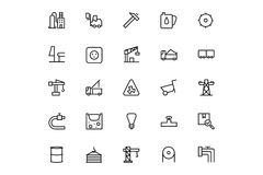 Ligne icônes 3 de vecteur de processus industriels Photo libre de droits
