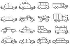 Ligne icônes de voitures réglées Images libres de droits