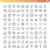 Ligne icônes de voyage Images libres de droits