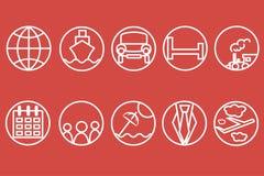 Ligne icônes de voyage Contour blanc d'un train, bateau, voitures, air, trains, parapluies sur un fond rouge Images libres de droits