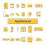 Ligne icônes des appareils ménagers 24 unités Photo stock