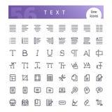 Ligne icônes des textes réglées illustration libre de droits