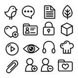 Ligne icônes - media social, blog, page Web de navigation de menu de site Web Images libres de droits