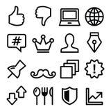 Ligne icônes - media social, technologie de navigation de menu de Web Photo libre de droits
