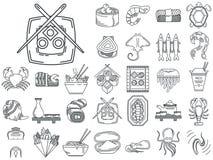Ligne icônes pour le menu japonais de fruits de mer Photo stock