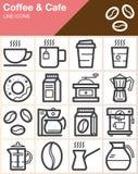 Ligne icônes réglées, collection de symbole de vecteur d'ensemble, paquet linéaire de café et de café de pictogramme de style illustration de vecteur