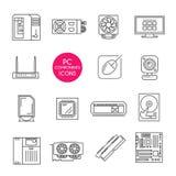 Ligne icônes réglées Composants de PC Images stock