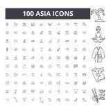 Ligne ic?nes, signes, ensemble de vecteur, concept de l'Asie d'illustration d'ensemble illustration stock