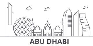 Ligne illustration d'architecture d'Abu Dhabi d'horizon Paysage urbain linéaire de vecteur avec les points de repère célèbres, vu Photos libres de droits