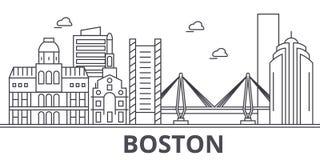 Ligne illustration d'architecture de Boston d'horizon Paysage urbain linéaire de vecteur avec les points de repère célèbres, vues Photographie stock