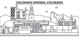 Ligne illustration d'architecture de Colorado Springs d'horizon Paysage urbain linéaire de vecteur avec les points de repère célè Photos libres de droits