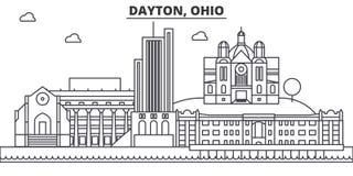 Ligne illustration d'architecture de Dayton, Ohio d'horizon Paysage urbain linéaire de vecteur avec les points de repère célèbres Images stock