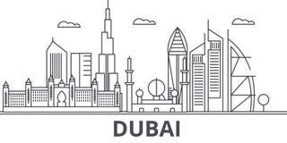 Ligne illustration d'architecture de Dubaï d'horizon Paysage urbain linéaire de vecteur avec les points de repère célèbres, vues  illustration de vecteur