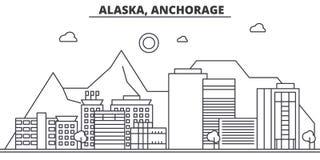 Ligne illustration d'architecture de l'Alaska, Anchorage d'horizon Paysage urbain linéaire de vecteur avec les points de repère c Photographie stock libre de droits