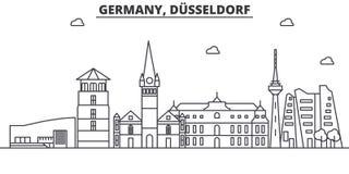 Ligne illustration d'architecture de l'Allemagne, Dusseldorf d'horizon Paysage urbain linéaire de vecteur avec les points de repè Image libre de droits