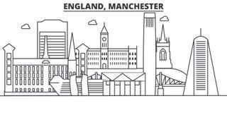Ligne illustration d'architecture de l'Angleterre, Manchester d'horizon Paysage urbain linéaire de vecteur avec les points de rep Image stock