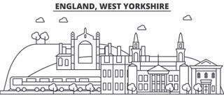 Ligne illustration d'architecture de l'Angleterre, West Yorkshire d'horizon Paysage urbain linéaire de vecteur avec les points de Photos stock