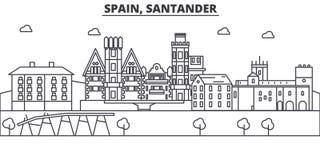 Ligne illustration d'architecture de l'Espagne, Santander d'horizon Paysage urbain linéaire de vecteur avec les points de repère  Photo stock