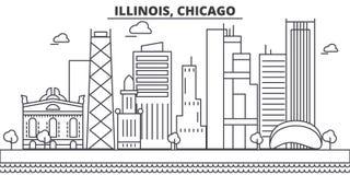 Ligne illustration d'architecture de l'Illinois, Chicago d'horizon Paysage urbain linéaire de vecteur avec les points de repère c Images stock