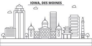 Ligne illustration d'architecture de l'Iowa, Des Moines d'horizon Paysage urbain linéaire de vecteur avec les points de repère cé illustration stock