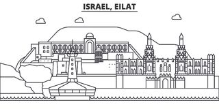 Ligne illustration d'architecture de l'Israël, Eilat d'horizon Paysage urbain linéaire de vecteur avec les points de repère célèb illustration de vecteur