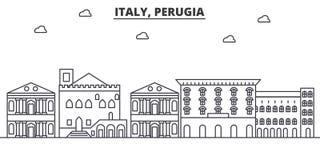 Ligne illustration d'architecture de l'Italie, Pérouse d'horizon Paysage urbain linéaire de vecteur avec les points de repère cél illustration stock
