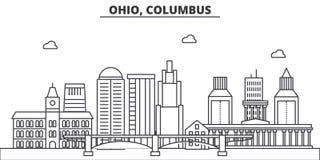 Ligne illustration d'architecture de l'Ohio, Columbus d'horizon Paysage urbain linéaire de vecteur avec les points de repère célè illustration de vecteur