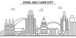 Ligne illustration d'architecture de l'Utah, Salt Lake City d'horizon Paysage urbain linéaire de vecteur avec les points de repèr Images libres de droits
