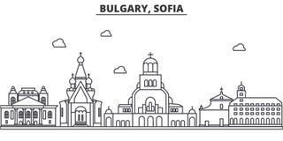 Ligne illustration d'architecture de la Bulgarie, Sofia d'horizon Paysage urbain linéaire de vecteur avec les points de repère cé Photographie stock