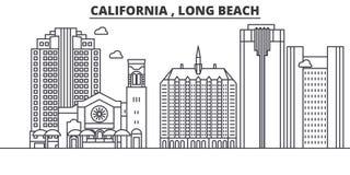 Ligne illustration d'architecture de la Californie Long Beach d'horizon Paysage urbain linéaire de vecteur avec les points de rep Images libres de droits
