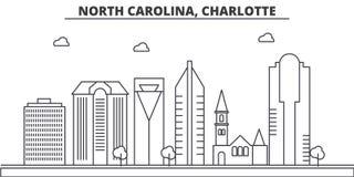 Ligne illustration d'architecture de la Caroline du Nord, Charlotte d'horizon Paysage urbain linéaire de vecteur avec les points  Photos libres de droits