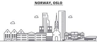 Ligne illustration d'architecture de la Norvège, Oslo d'horizon Paysage urbain linéaire de vecteur avec les points de repère célè Image stock